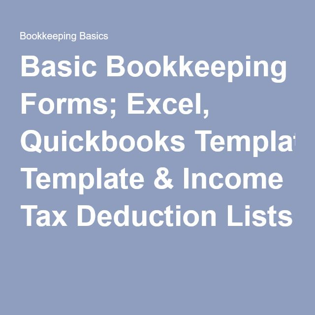 Basic Bookkeeping Forms; Excel, Quickbooks Template \ Income Tax - income template