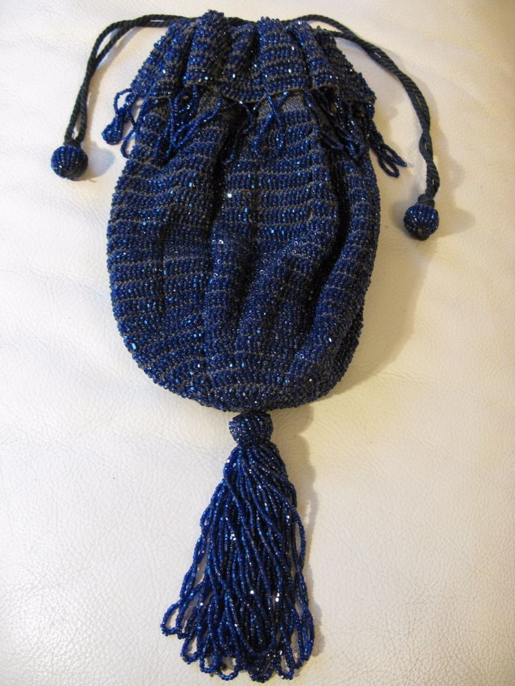 Vintage Bags, Handbags & Cases Antique Art Deco Tan Grey Crochet Peacock Blue Bead Drawstring Flapper Purse
