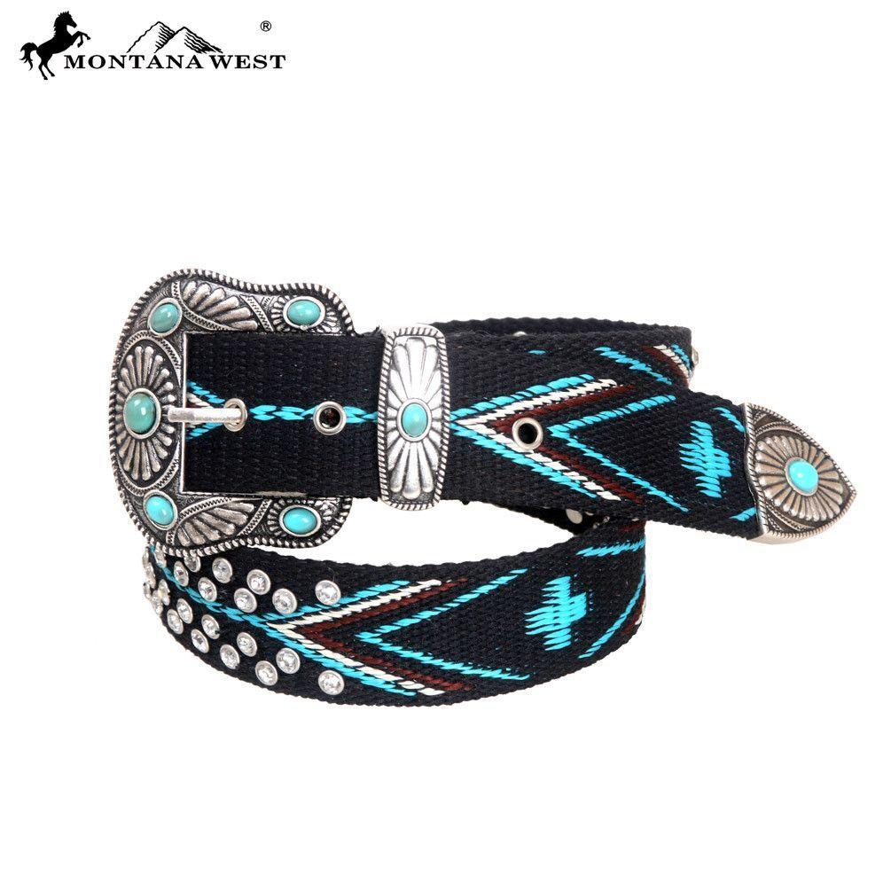 Montana West Womens Woven Belt Aztec Design Western Rhinestone Turquoise Small