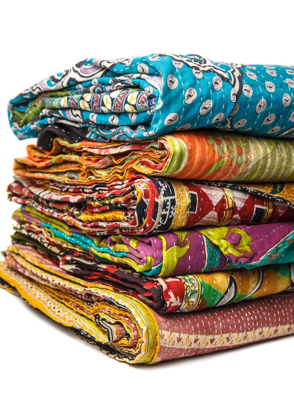 Vintage kantha quilt hand stitching saris and traditional