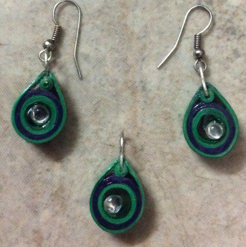 J 65 - Quilled earrings & pendant - 1.5in