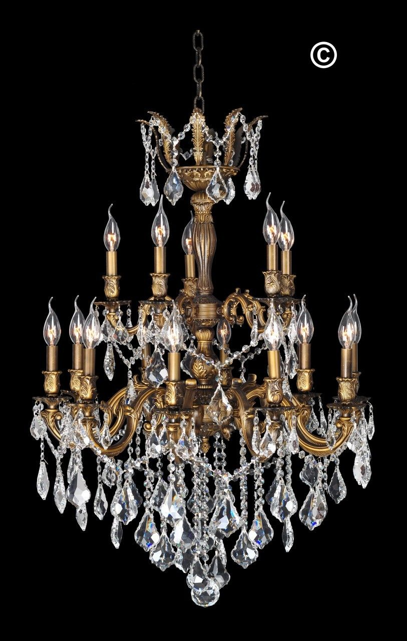 Designer Chandelier Australia Pty Ltd Americana 15 Light Crystal Antique Brass Style