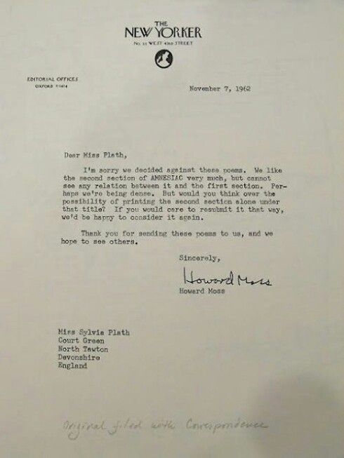 Rejection Letter To Sylvia Plath  ItS News To Me