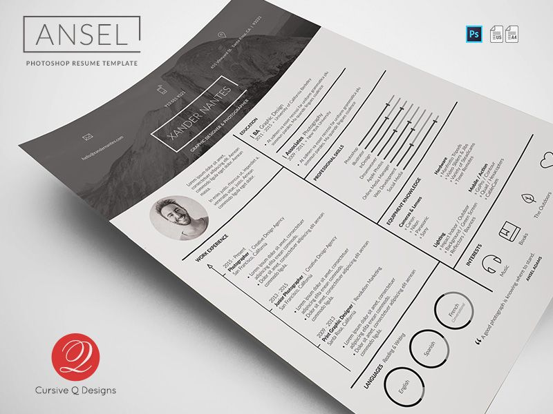 Ansel photoshop resume template cursive photoshop and template ansel photoshop resume template by cursive q designs on creative market yelopaper Images