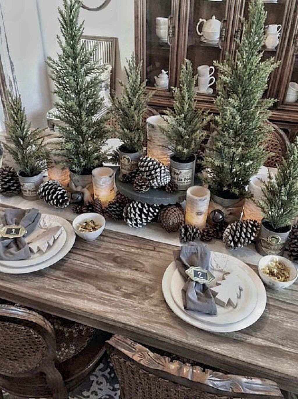 Pin By Karen Pangia On A White Christmas Christmas Table Decorations Christmas Dining Table Christmas Tablescapes