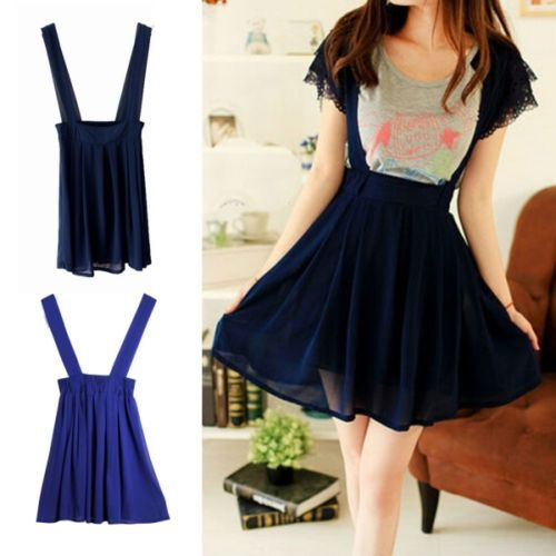 7881fed692 Suspender-Braces-Mini-SKIRT-High-Waisted-Waist-Pleated-Dress-Casual-Leisure- New