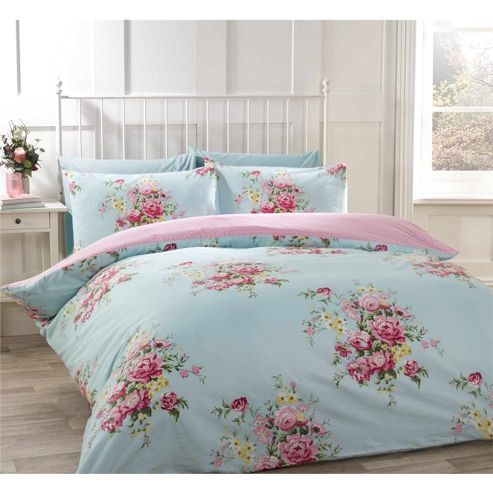 Tesco Direct Rapport Kate Blue Flannelette Duvet Cover Set Single Luxury Duvet Sets Bedding Sets Quilted Duvet Cover