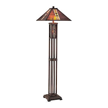 Mission Style Floor Lamp With Tiffany Shade Lts Ls80812