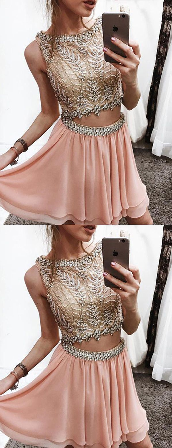 Unique two piece scoop short beaded blush chiffon homecoming dress