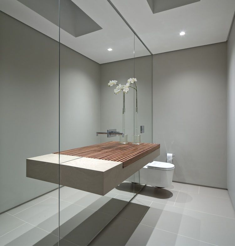 mirrors in the bathroom badezimmer trend waschbecken holz beton spiegelwand bad 19540
