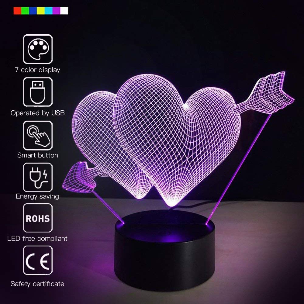 Amazonsmile Romantic 3d Glow Led Night Light 7 Colors Optical Illusion Lamp Touch Sensor Perfect For Color Optical Illusions Led Night Light Optical Illusions