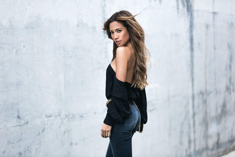 Jessi Malay & mywhiteT | Misha Bahati Bodysuit | Paige Flared Denim | Zara Gem-Style Belt |  Stella McCartney Falabella Mini Crossbody Bag