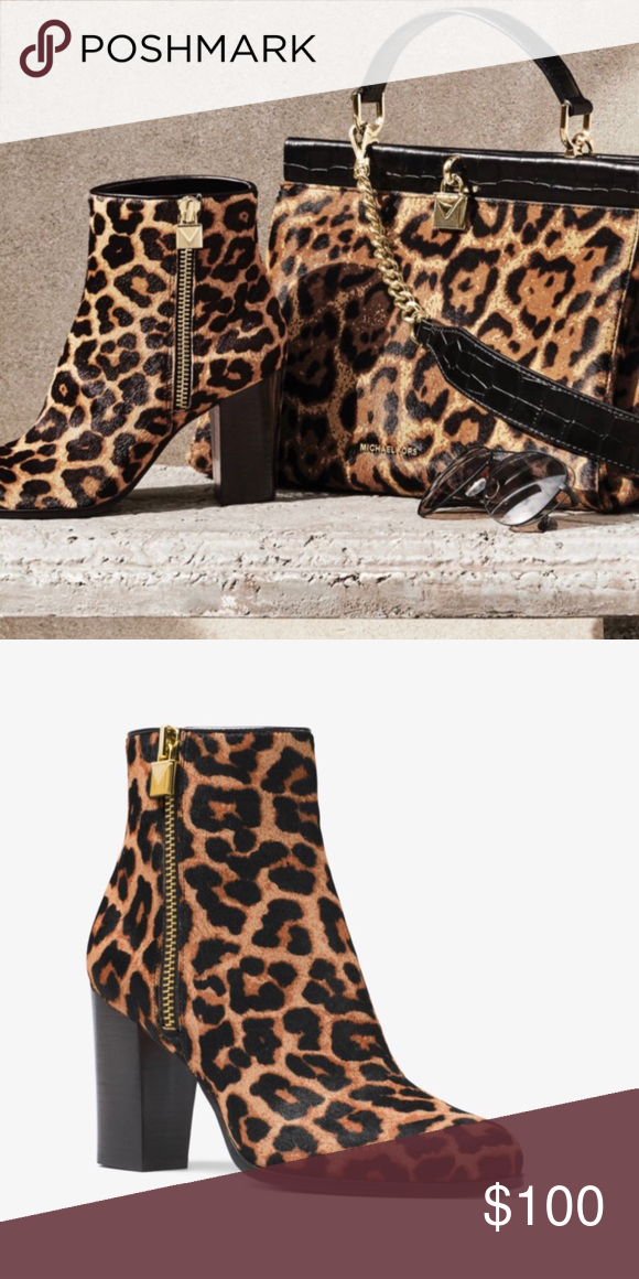 "2e2b87209cd7 Michael Kors Margaret Hair Calf Bootie Michael Kors leopard print hair calf  bootie. Purchased from the store, but only worn once. 3.25"" stacked heel  with a ..."