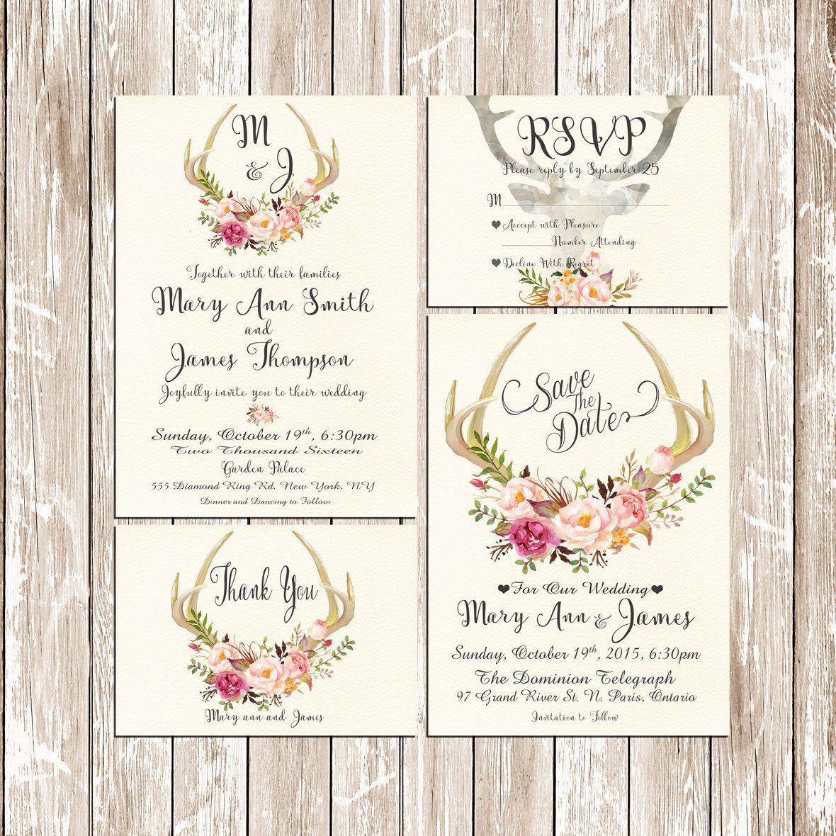 Printable Wedding Invitation Suite Deer Antler pink floral Boho ...