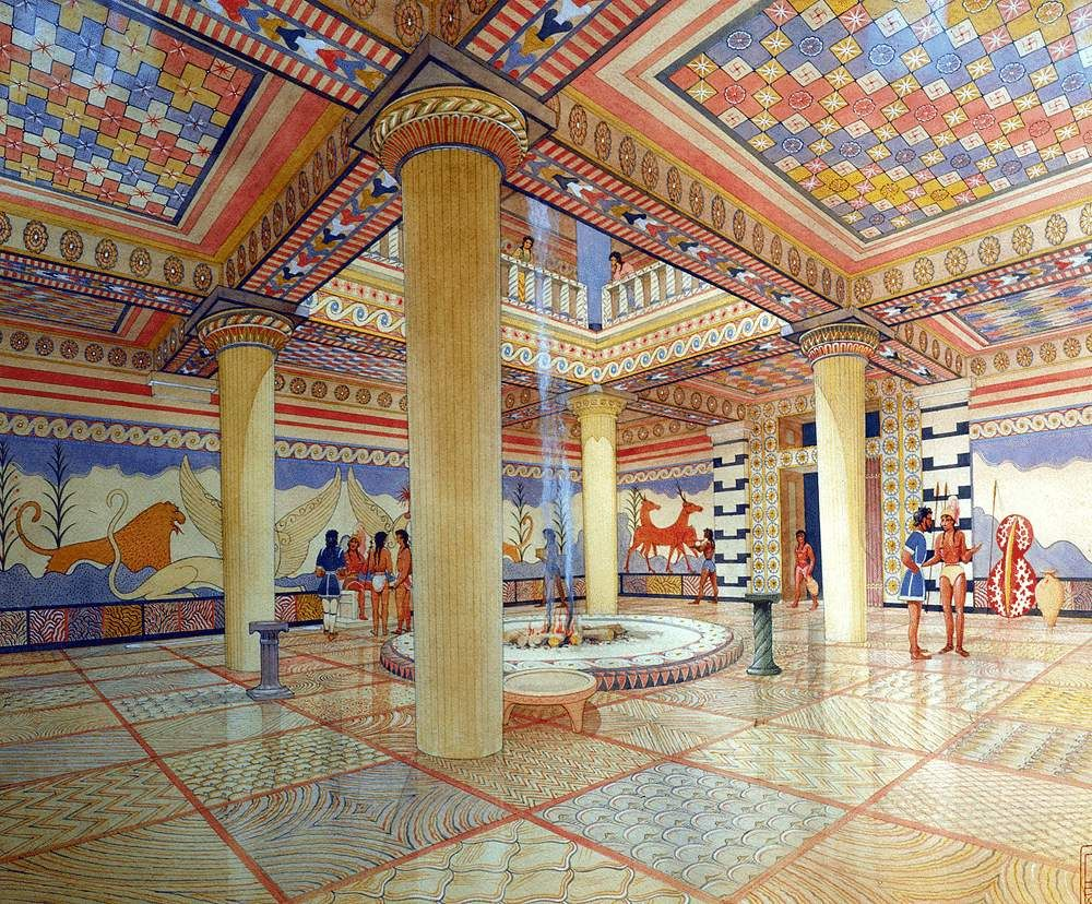Handouts minoan and mycenean arts fresco pinterest for Greek interior design history
