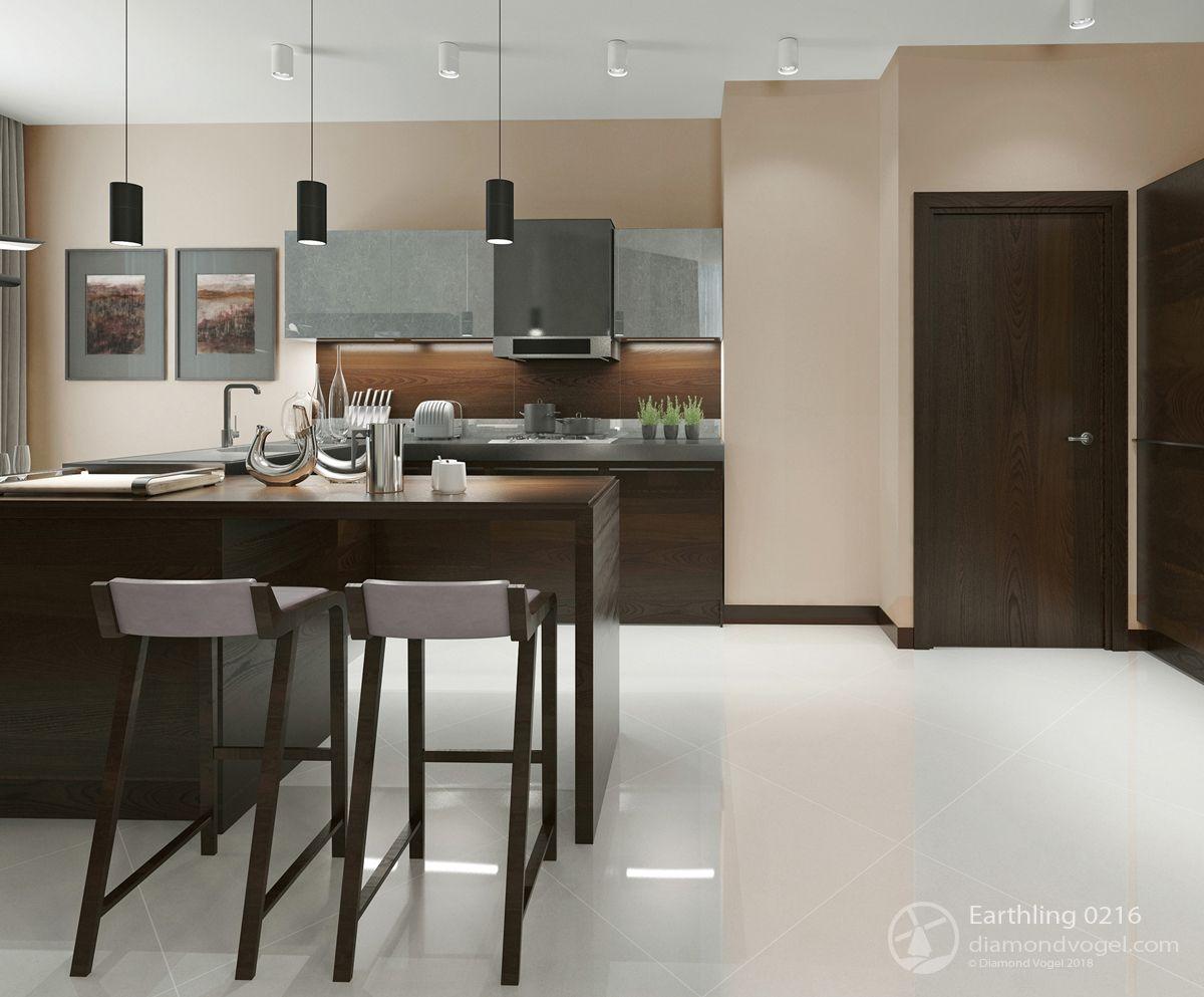 Beige Kitchen With Dark Woodwork 2019 Trending Colors Earthling 0216 Diamond Vogel Paint Modern Kitchen Bar Wood Parquet Flooring Parquet Flooring