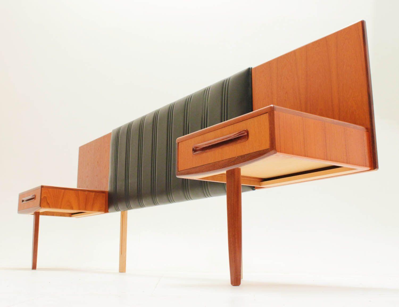 danish style floating nightstands,teak headboard,mid century