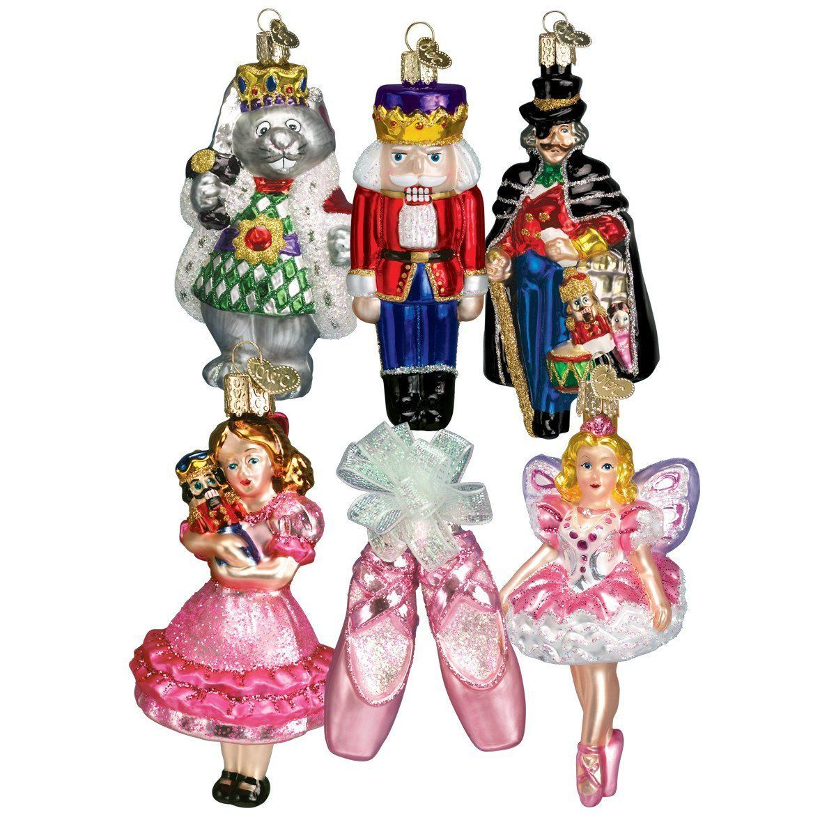 Old World Christmas Nutcracker Suite Collection Ornament Box Set celebrates an iconic Christmas Tradition. Each Ornament measures 4 to 5 inches tall. Give the gifts of tradition! This perfect gift includes a certificate for giving. The Ornament collections are cherished and handed down from one generation to the next, each ornament is carefully selected to showcase Christmas traditions. Makes a Great Gift. The ornament set comes in a Premium Satin Lines Gift Box The set includes: Clara (4 inches