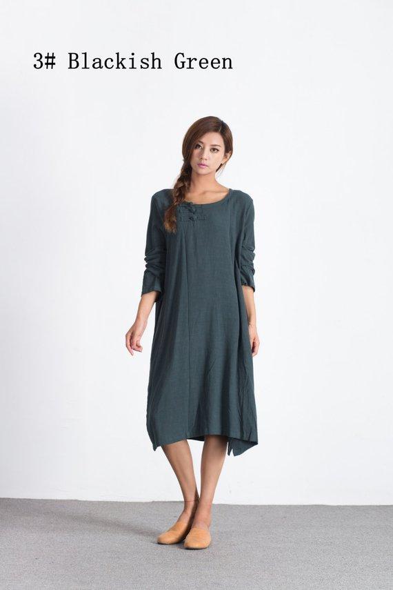 c29c6129986 Oversize loose linen cotton maxi dress Women s cotton caftan custom made large  size shirt dress plus