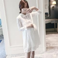 [ 20% OFF ] Han Edition Lace Long Sleeve Maternity New Autumn Autumn Outfit In Long Dress Tide Mother Coat The Pregnant Woman Skirt