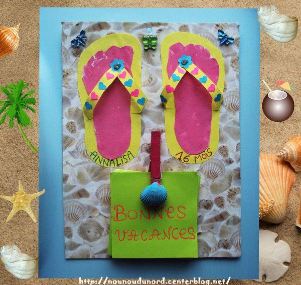 Beliebt Pense bête d'été décoration tongs et empeintes de pied. | Mer  SS14