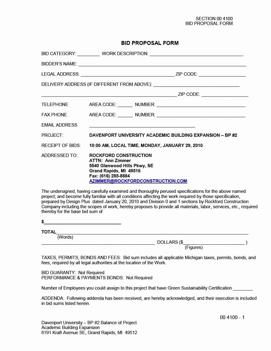 Contractor Proposal Template Free Elegant 31 Construction Proposal Template Construction Bid Proposal Templates Business Proposal Template Construction Bids Free construction bid proposal template
