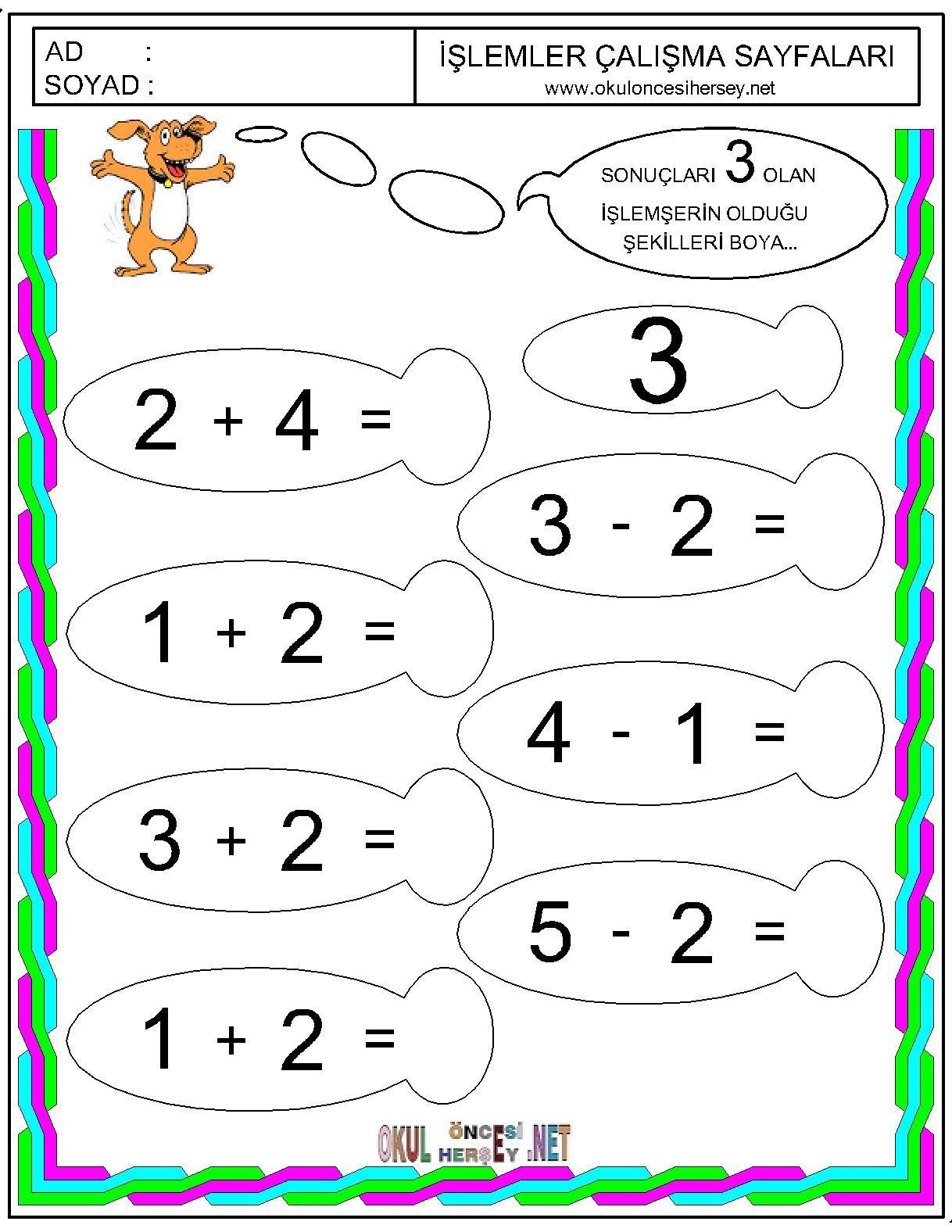 Basit Toplama Cikarma Islemi Okul Anaokulu Matematigi