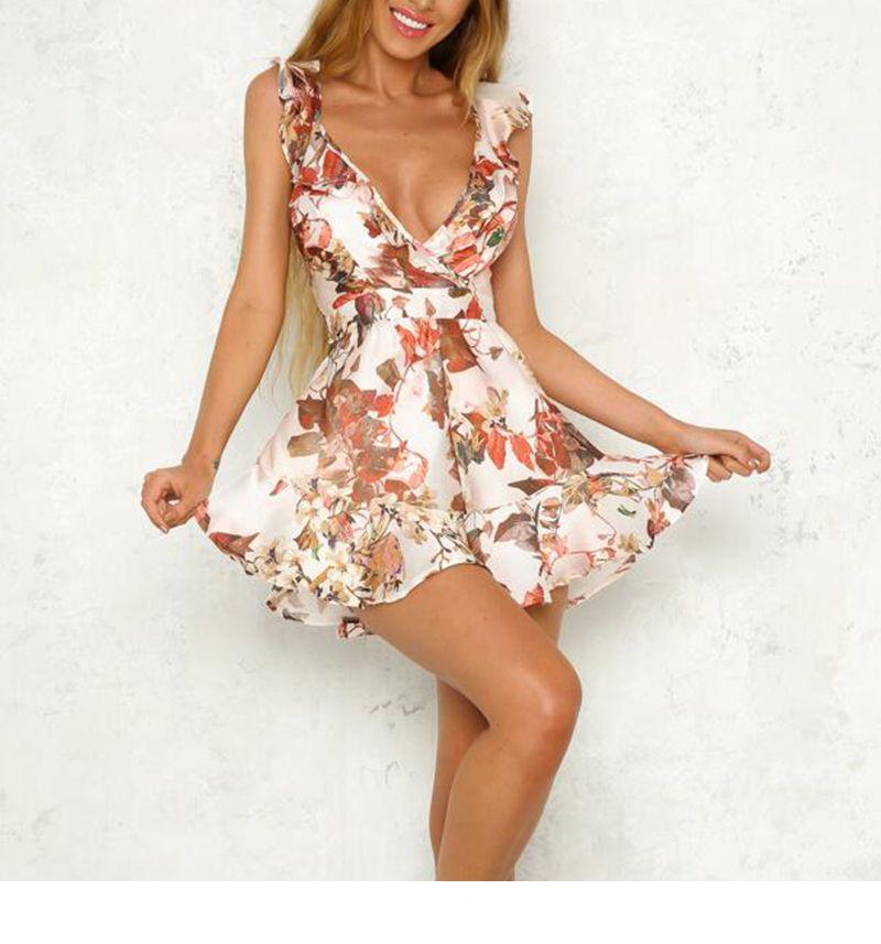 3e03deb7d6e Lily Rosie Girl Print Floral Summer Playsuit Women Sleeveless V Neck Short Romper  Jumpsuit Boho Beach