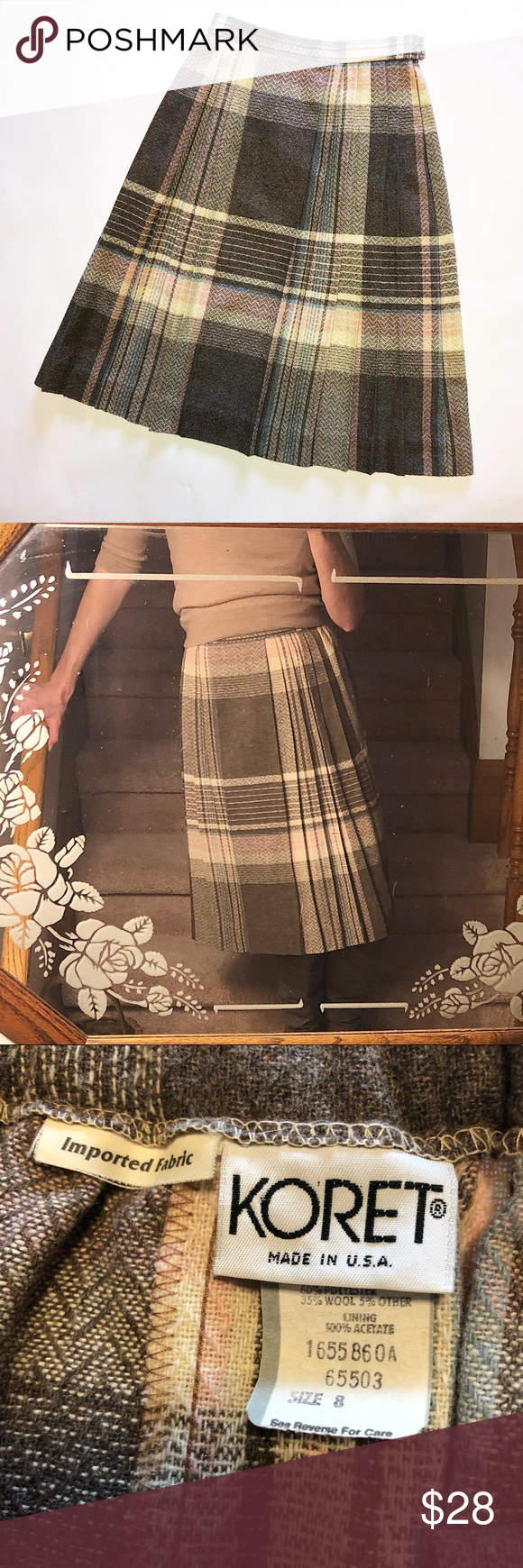 d166c7875f Vintage Koret Plaid Wool Blend Midi Skirt This pleated skirt is so perfect  for winter!