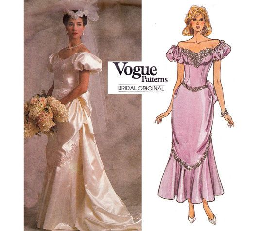 80s Wedding Dress Pattern Vogue Bridal By Allthepreciousthings