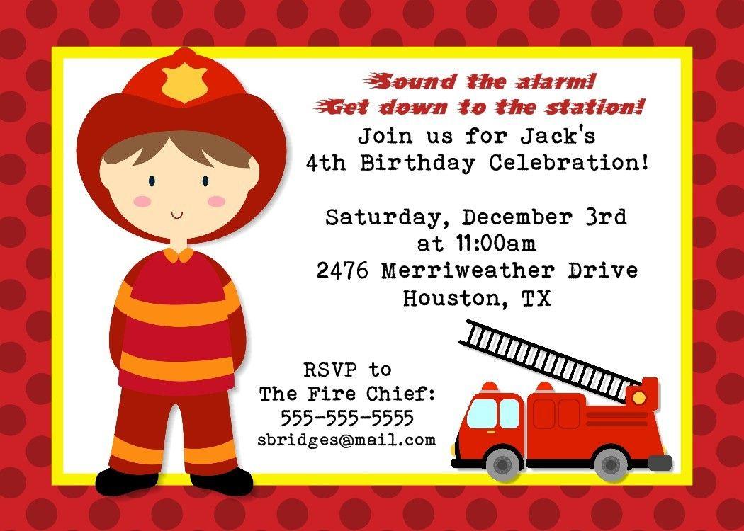 Fireman Birthday Invitation for Boys or Girls by PhotoGreetings ...