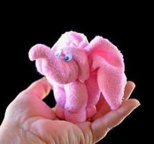 Washcloth elephant - this was a big hit at the shower where I took it. I put one on top of the diaper cake.