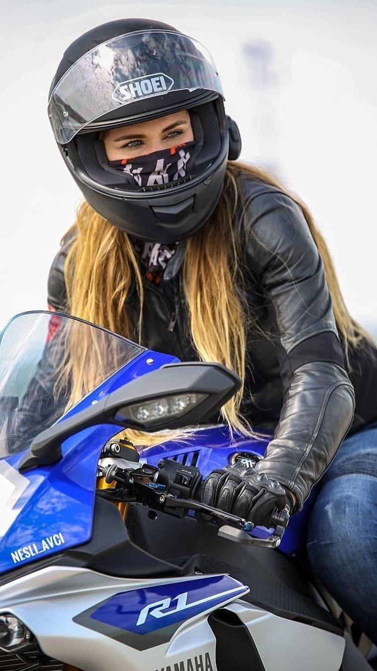 Motorad Girl In Black Leather Moto Jacket And Jeans -8340