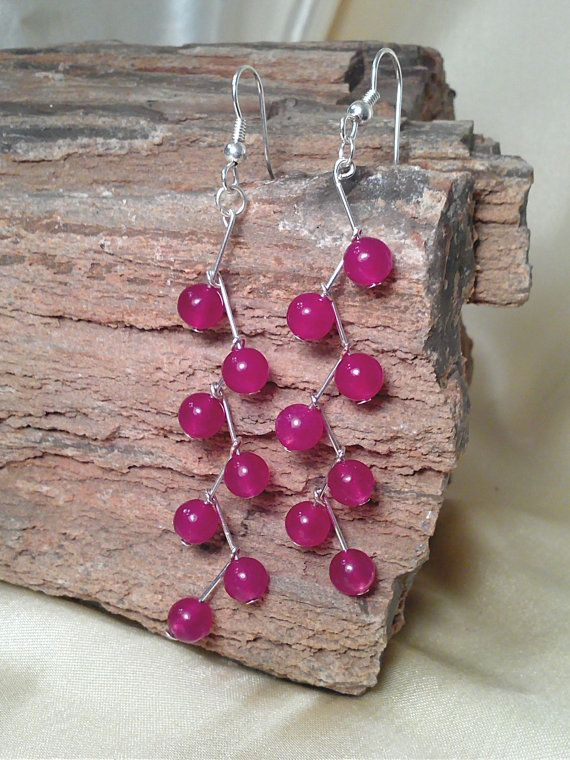 Berry Colored Natural Jade Earrings made with Sterling Silver Hardware