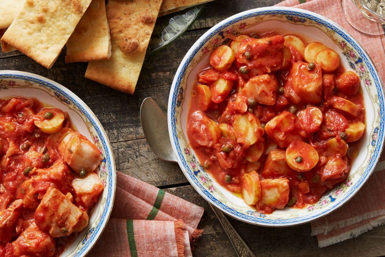 Blue apron yuzu cod - Southern Italian Cod Stew With Pizza Bianca Ricetta Spezzatino Italiano E Pizza