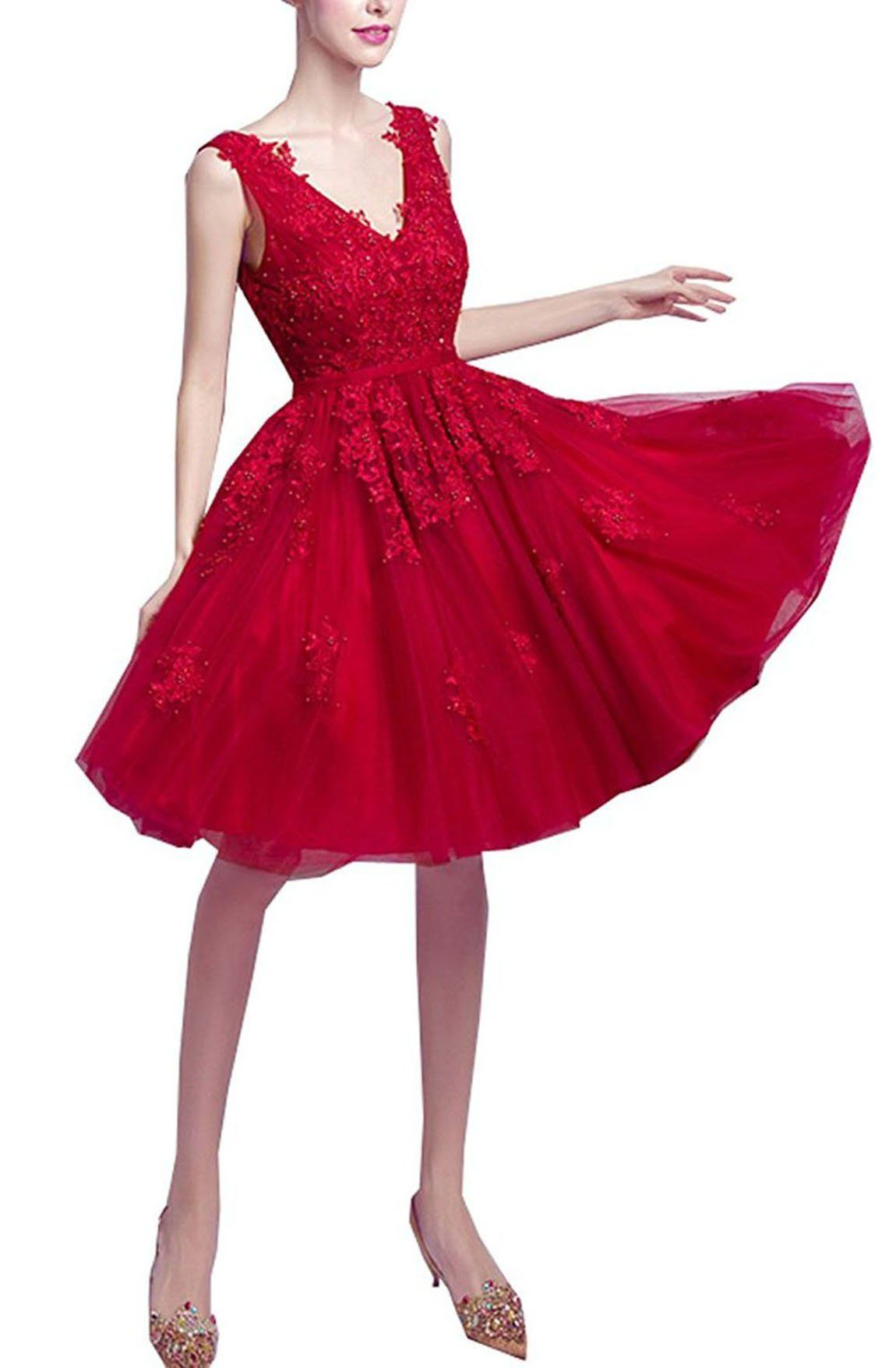 Brl mall short homecoming party ball gowns lace vneck bridesmaid