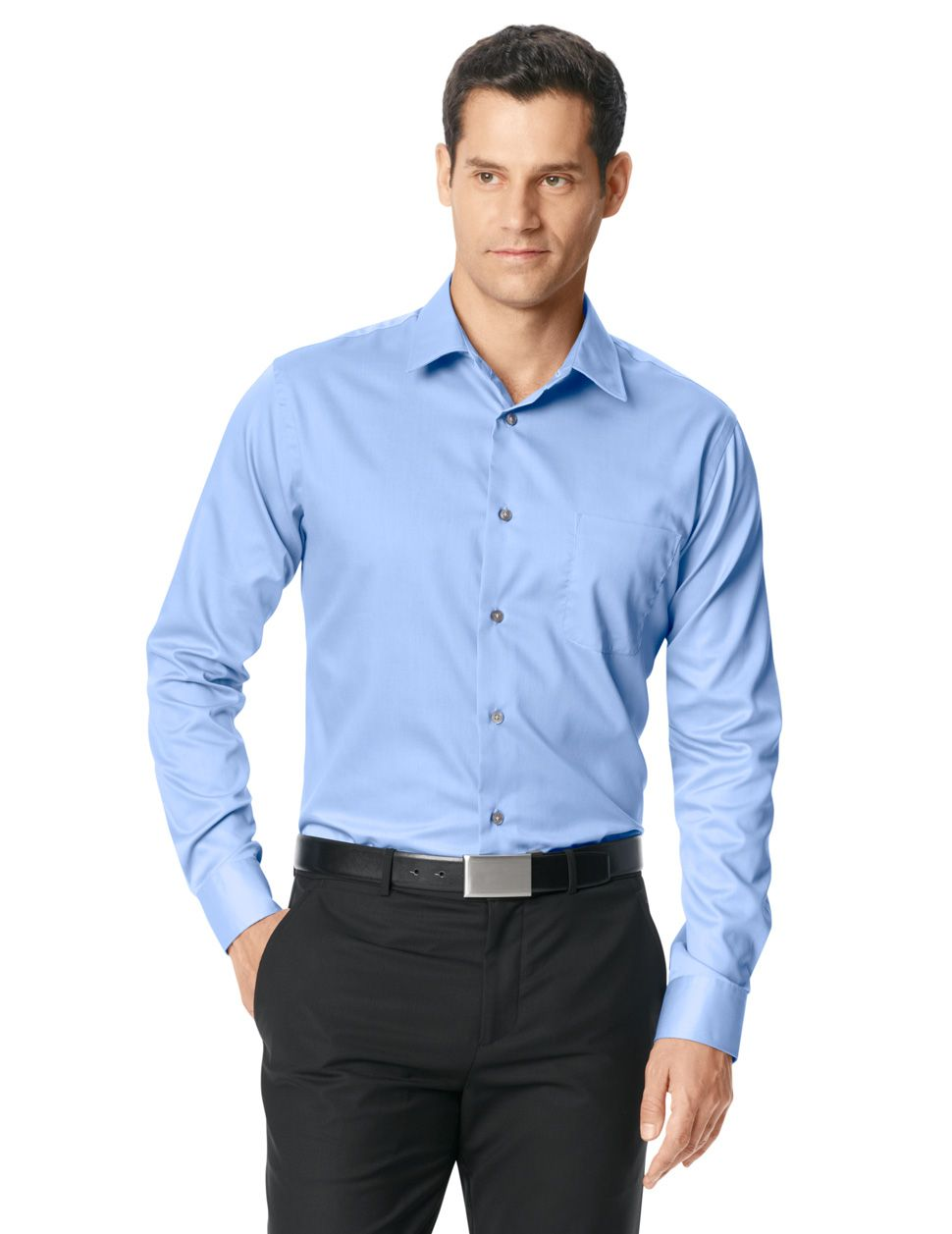 No Iron Solid Color Button Down Van Heusen Husband 3
