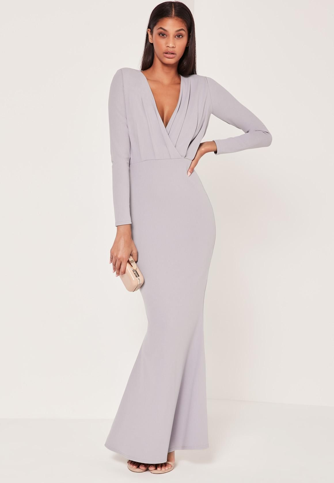 09264483400 Missguided - Pleat Plunge Long Sleeve Fishtail Maxi Grey