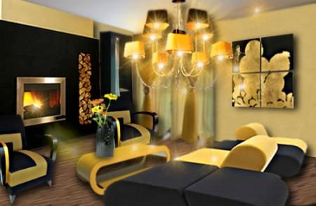 salon jaune et noir le jaune moutarde du mur est doux pour calmer l 39 atmosph re. Black Bedroom Furniture Sets. Home Design Ideas