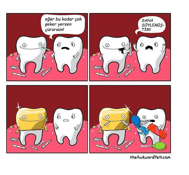 Ağzımızın İçinde Neler Oluyor? 9 Sevimli Karikatür ile Dişlerin ve Dilin Tatlı Mücadelesi