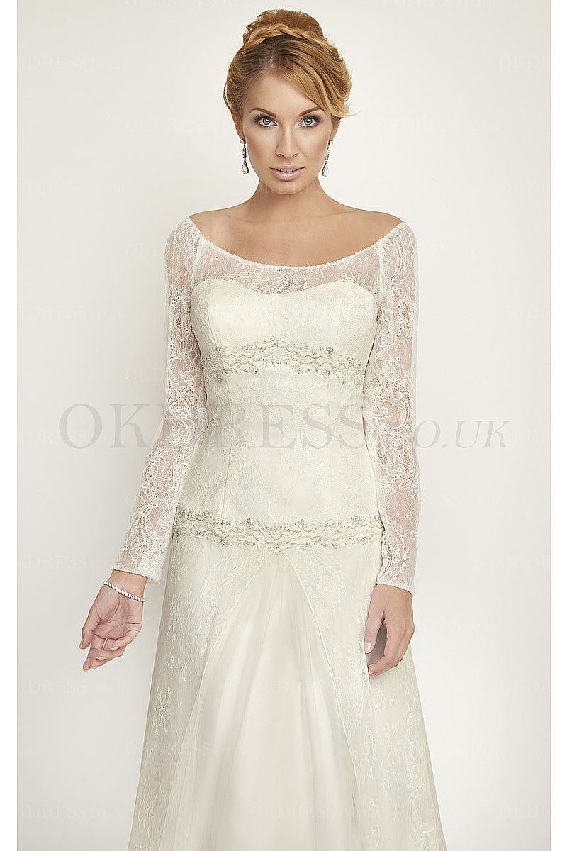 Cowl back lace wedding dress  Vintage Princess Lace Scoop Long Sleeves Wedding Dresses  by