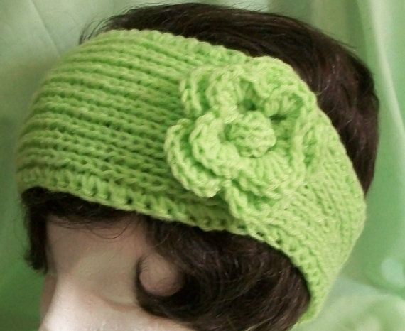 Neon Lime Green Knitted Headband With Crocheted by AuldNouveau, $10.99