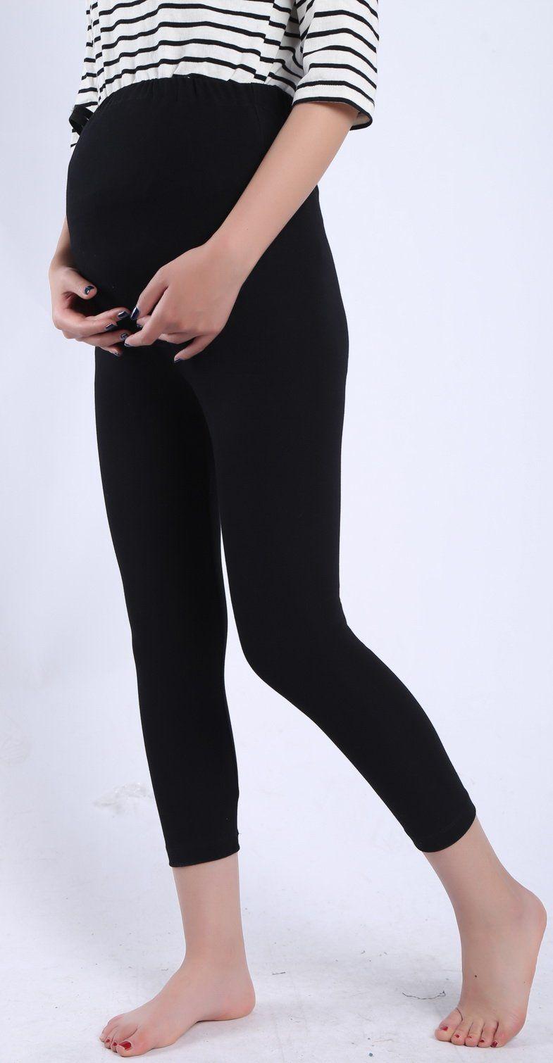 79a7a77301ecf pregnancy workout - Foucome Spring Summer Maternity Capri Pants Stretch  Elastic Band Adjustable Cotton Leggings For Women Black US S Label L ***  Details ...