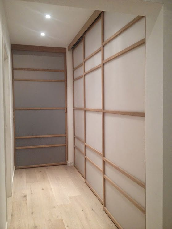 Portes De Placards Coulissantes Japonisantes Dans Un Petit Couloir - Porte placard coulissante et fabricant de porte intérieure sur mesure