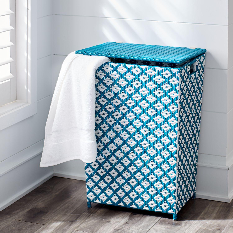 San Martin Ocean Blue Wicker Laundry Hamper Products