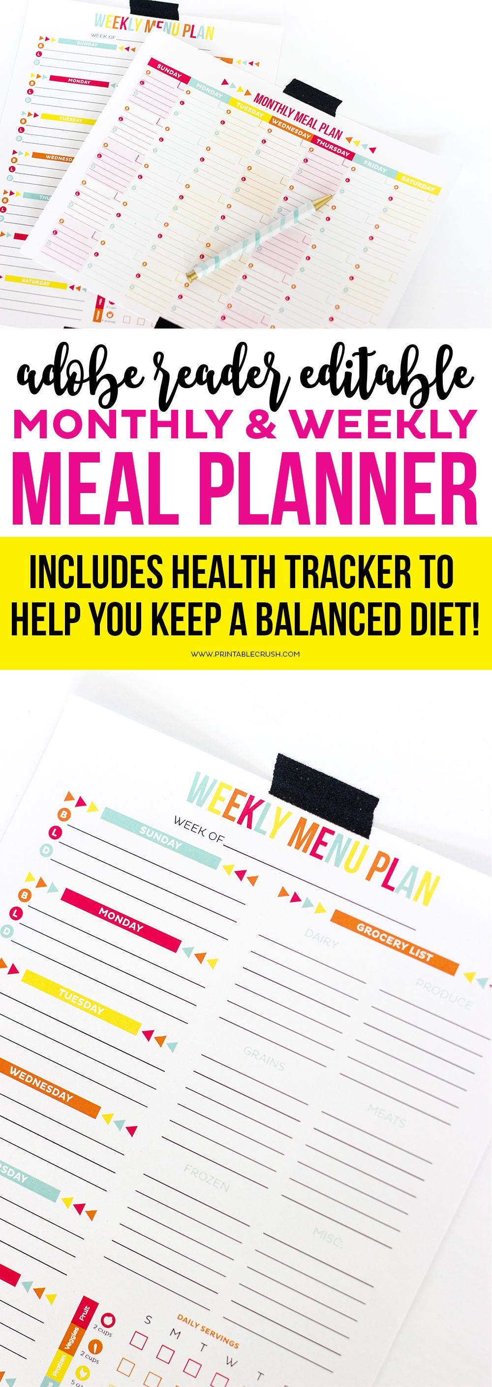 editable meal plan printable