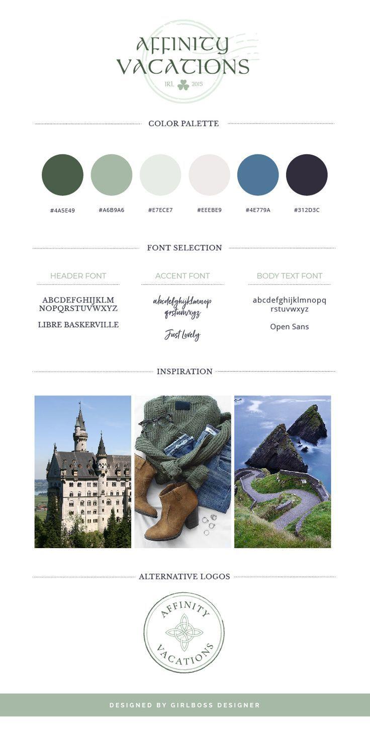 Ireland Travel Branding and Logo Design - Affinity Vacations - by Girlboss Designer #travelbusinessbranding #traveldesign #Irelandvacation #businesstips #womenentrepreneurs #femaleentrepreneurs #girlboss #graphicdesign #logodesign #colorpaletteinspiration