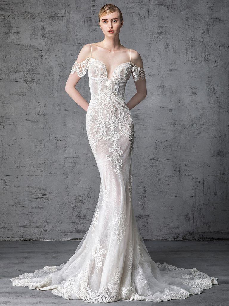 400d4ff56b9 Victoria Kyriakides Spring 2019 Collection fit and flare wedding dress with  floral lace embroidery and off the shoulder detail