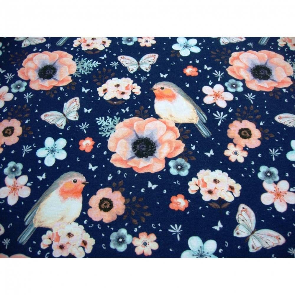 Baumwolljersey Rotkehlchen Blumen Schmetterlinge Auf Blau