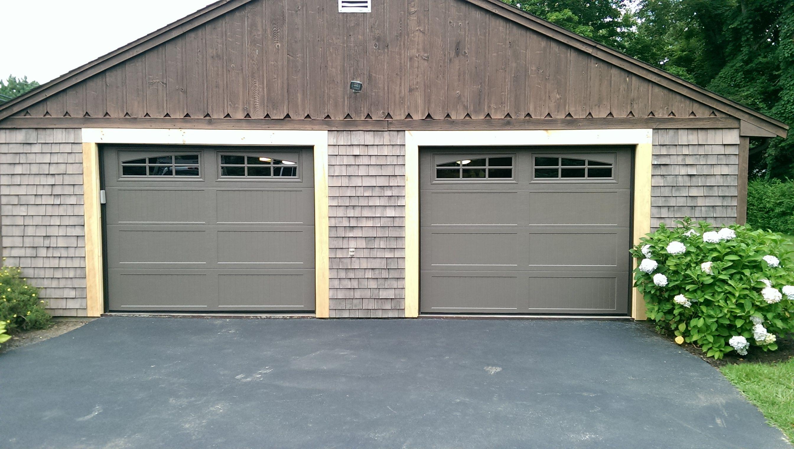Glass overhead doors - Haas Model 664 Long Panel Steel Insulated Carriage House Garage Doors In Bronze With Arch 6
